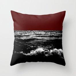 Black Wave w/Dark Red Horizon Throw Pillow