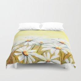 Daisies Watercolor Duvet Cover