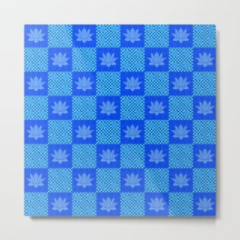 Retro Blue Lotus Checkerboard Metal Print