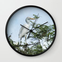 Cattle Egret In a Tree Wall Clock