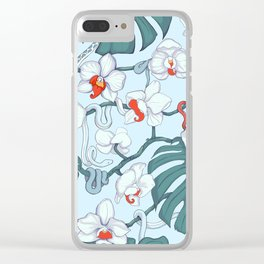 Wild Orchids Tropical Pattern (blue) Clear iPhone Case