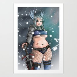 Chainsaw Valkyrie Art Print