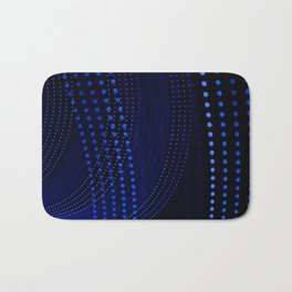 Blue dotted lines on black background with abstract shapes. Bath Mat