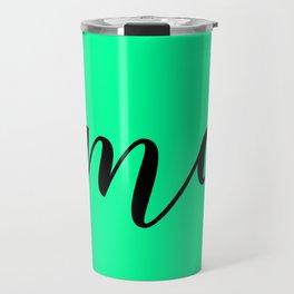 'Namaste' Pose in Neon Mint Green and Black Yoga Exercise Travel Mug
