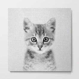 Kitten - Black & White Metal Print