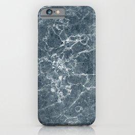 Deep Blue Grey Marble Pattern iPhone Case
