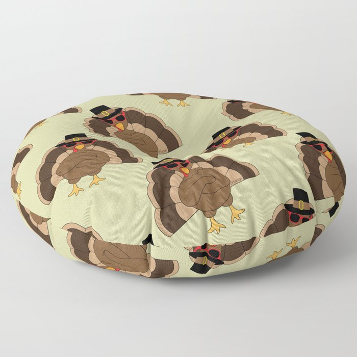 Cool Turkey with sunglasses Happy Thanksgiving Floor Pillow