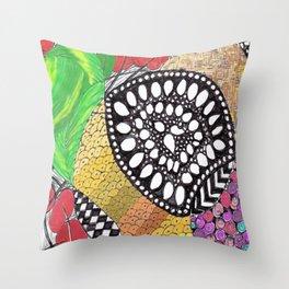 Zen Doodle zz04 - color Throw Pillow
