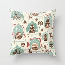 Gingerbread Village Cream Throw Pillow