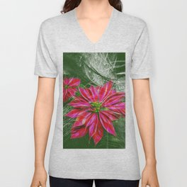 Abstract vibrant red poinsettia on green texture Unisex V-Neck