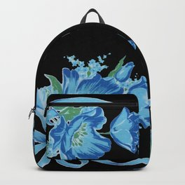 Black and Blue Vintage Ribbons and Flowers Backpack