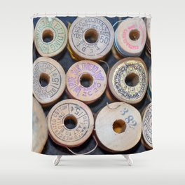 Wooden Spools Shower Curtain