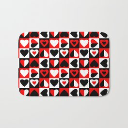 Black White and Red Hearts Pattern Bath Mat