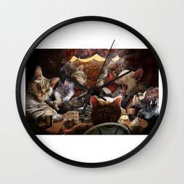 Cats play poker Wall Clock