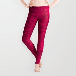 Bright Hot Pink Brick Wall Leggings