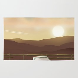 Vintage Car in the sunset Rug