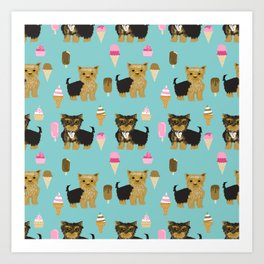 Yorkie ice cream gifts yorkshire terrier dog lover pet friendly patterns minty Art Print