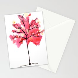 Autumn Tree Watercolor Paintig Stationery Cards