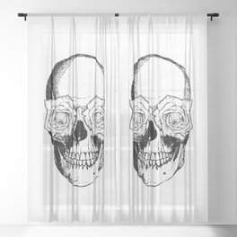 Skull and Roses | Black and White Sheer Curtain