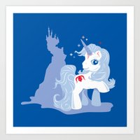 the last unicorn Art Prints featuring My Little Last Unicorn by Ashley Hay