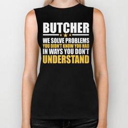 Butcher Cool Gift Problem Solver Saying Biker Tank