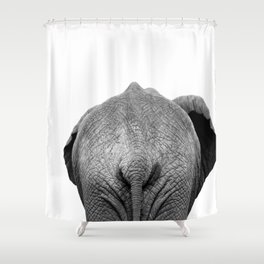 Elephant Butt, Black and White African Animal Shower Curtain