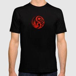 Red and Black Dragon Phoenix Yin Yang T-shirt