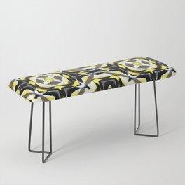 black yellow gray and white geometric Bench