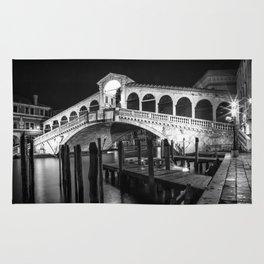 VENICE Rialto Bridge at Night | Monochrome Rug