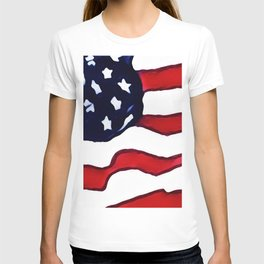 Flag - US Flag - American Flag Blowing in the Wind T-shirt