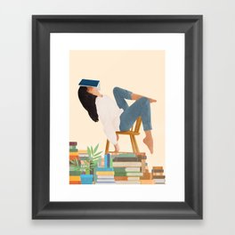 Lost in my books Framed Art Print