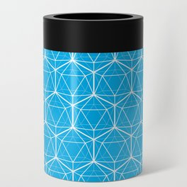 Icosahedron Pattern Bright Blue Can Cooler