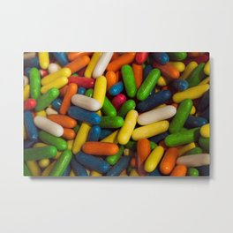Confection of multiple colors. Candied birthday candies Metal Print