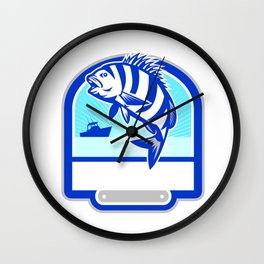 Sheepshead Fish Jumping Fishing Boat Crest Retro Wall Clock