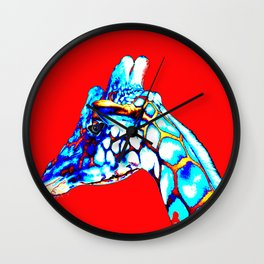 Colorful Giraffe Red (Left facing) Wall Clock