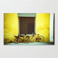 bicycles Canvas Prints featuring Bicycles by The Dalai Lomo
