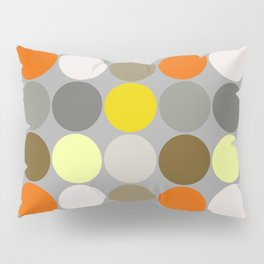 Mid-Century Giant Dots, Gray, Gold and Orange Pillow Sham