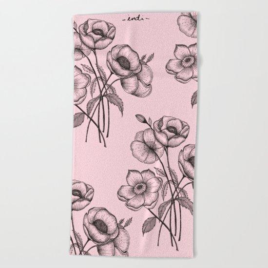 Palid Flowers  Beach Towel