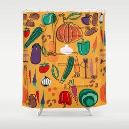 fall veggies yellow Shower Curtain