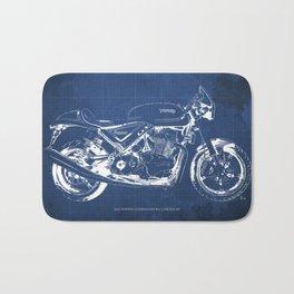 Blueprint, Norton Commando Cafe Racer, original art,bike poster Bath Mat