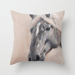 gray horse Throw Pillow