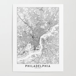 Philadelphia White Map Poster