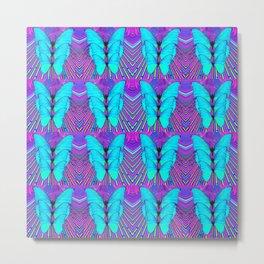 MODERN ART NEON BLUE BUTTERFLIES SURREAL PATTERNS Metal Print