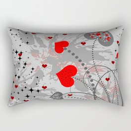 Abstract background with red hearts Rectangular Pillow