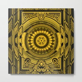Yellow Sunflower Card Deck Cover Metal Print