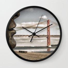 profile statue and bridge Wall Clock