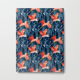 Birds and Reeds in Red and Blue Metal Print