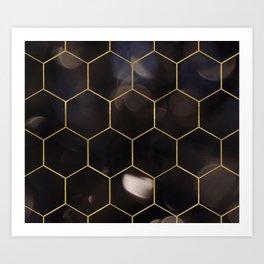 Dark bokeh gold hexagons Art Print