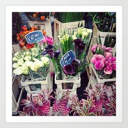 London Flower Market Art Print