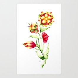 Fantastic bright plant with vivid big flowers Art Print